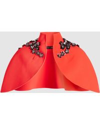 Safiyaa - Raised Neck Floral Embellished Cape - Lyst