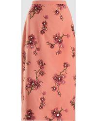 Erdem - Maira Embroidered Crepe Midi Skirt - Lyst