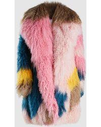Peter Pilotto - Multi-coloured Shearling Coat - Lyst