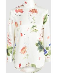 Adam Lippes - Printed Charmeuse Silk Floral Blouse - Lyst