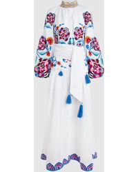 Yuliya Magdych - Favorite Wife Embroidered High Neck Linen Kaftan - Lyst
