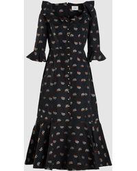 Erdem - Opaline Ruffled Embroidered Cotton-blend Midi Dress - Lyst