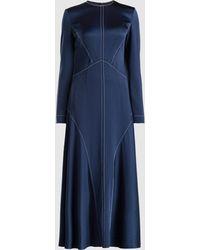 Cedric Charlier - Long Sleeve Structured Satin Maxi Dress - Lyst