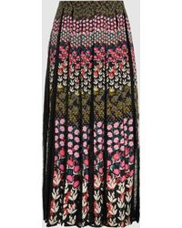 Saloni - Petra Floral-print Crepe Midi Skirt - Lyst