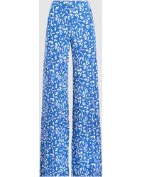 Saloni - Printed Silk Wide-leg Trousers - Lyst