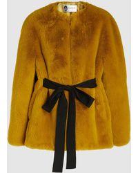 Lanvin - Belted Faux Fur Coat - Lyst