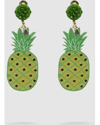 Mercedes Salazar - Pineapple Embellished Resin Clip Earrings - Lyst