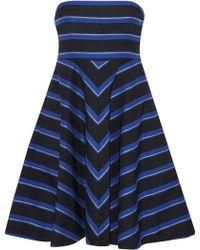 Halston - Strapless Metallic Striped Canvas Dress - Lyst