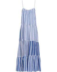 lemlem Tiered Striped Cotton-gauze Maxi Dress Blue