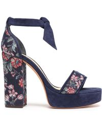 Alexandre Birman - Bow-embellished Jacquard And Suede Sandals - Lyst