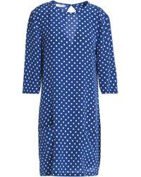 Equipment - Polka-dot Silk Crepe De Chine Mini Dress Cobalt Blue - Lyst