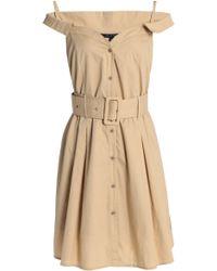 W118 by Walter Baker - Simpson Cold-shoulder Belted Cotton-poplin Shirt Dress - Lyst
