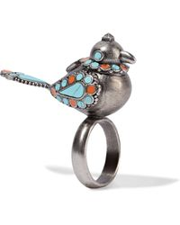 Valentino - Burnished Enamelled Silver-tone Ring - Lyst