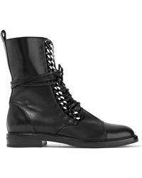 Casadei - Chain-trimmed Lace-up Leather Boots - Lyst