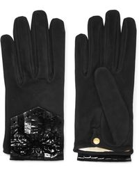 Causse Gantier | Patent Leather-paneled Suede Gloves | Lyst