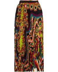 Roberto Cavalli | Pleated Printed Silk-georgette Midi Skirt | Lyst