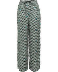 Maje - Woman Striped Printed Satin Wide-leg Pants Emerald Size 1 - Lyst
