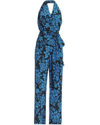 Diane von Furstenberg - Belted Printed Silk Halterneck Jumpsuit - Lyst