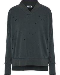 LNA - Lake Distressed French Cotton-terry Sweatshirt Dark Grey - Lyst