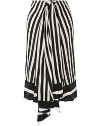 TOME - Tie-front Striped Silk-georgette Midi Skirt - Lyst
