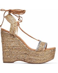 Schutz Woman Aveline Crystal-embellished Woven Jute Wedge Sandals Sand Size 5.5 7PTPCqrP