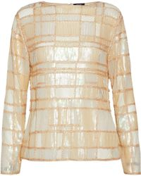 Raoul - Sequin And Bead-embellished Mesh Top Pastel Yellow - Lyst