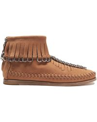 Alexander Wang - Fringed Embellished Suede Ankle Boots - Lyst