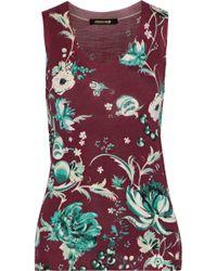 Roberto Cavalli - Floral-print Wool, Cashmere, And Silk-blend Tank - Lyst