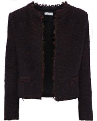 IRO - Woman Cof Frayed Bouclé-tweed Blazer Merlot - Lyst