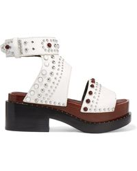 3.1 Phillip Lim - Studded Cracked-leather Platform Sandals - Lyst