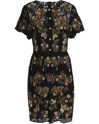 Dolce & Gabbana - Embellished Metallic Lace Mini Dress - Lyst
