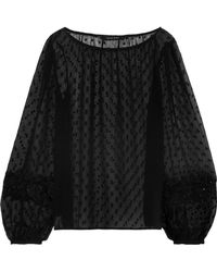 W118 by Walter Baker - Embellished Fil Coupé Chiffon Top Black - Lyst