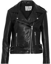 OAK - Woman Ny Rider Leather Biker Jacket Black - Lyst