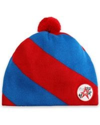 Perfect Moment - Woman Pompom-embellished Striped Merino Wool Beanie Red - Lyst