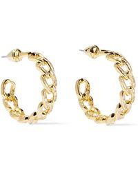 Noir Jewelry - Woman Gold-tone Crystal Hoop Earrings Gold - Lyst