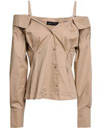Anna October Cold-shoulder Cotton-poplin Shirt Sand - Natural