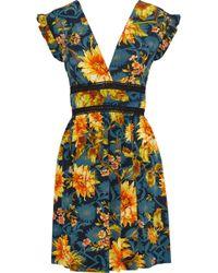Sandro - Leonard Crochet-trimmed Floral-print Silk Mini Dress Petrol - Lyst