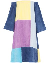 Lisa Marie Fernandez - Off-the-shoulder Patchwork Cotton-terry Coverup - Lyst