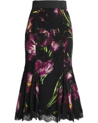 Dolce & Gabbana - Fluted Lace-trimmed Floral-print Silk-blend Midi Skirt - Lyst
