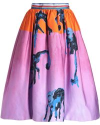 Stella Jean - Flared Printed Cotton Skirt - Lyst
