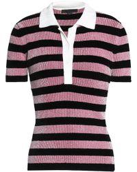 Alexander Wang - Metallic Striped Chenille Polo Shirt - Lyst