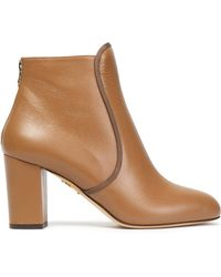 Charlotte Olympia - Textured-leather Ankle Boots Light Brown - Lyst
