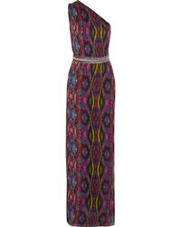 Matthew Williamson Woman One-shoulder Embellished Printed Silk-chiffon Gown Plum Size 6 Matthew Williamson Cheap Sale Authentic Discount Fashion Style Cheap Collections Best Seller qT32OO4aEc