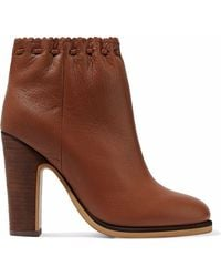 See By Chloé - Jane Textured-leather Ankle Boots Light Brown - Lyst