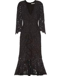 Alexis - Nadege Crochet-trimmed Ruffled Corded Lace Midi Dress - Lyst