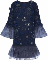 Marchesa notte - Woman Organza-paneled Embellished Tulle Mini Dress Navy Size 0 - Lyst