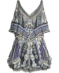 Camilla - Memory Lane Embellished Printed Layered Silk Playsuit - Lyst