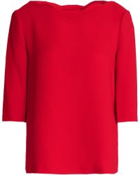 Claudie Pierlot - Scalloped Satin-crepe Top - Lyst