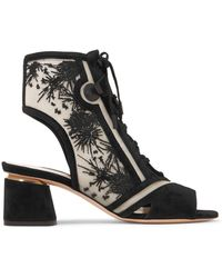 Nicholas Kirkwood | Phoenix Cutout Embroidered Mesh And Suede Sandals | Lyst