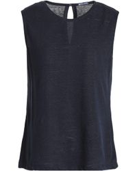 Petit Bateau - Woman Slub Linen-jersey Top Navy - Lyst